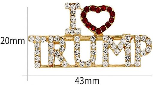 BinaryABC I LOVE TRUMP Rhinestones Brooch Pins,2020 Presidential Election Favors,Election Day Decorations,2Pcs
