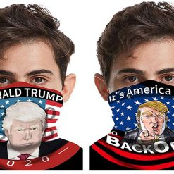 Bestring 2 Pcs Trump US Flag Face Bandana Neck Gaiter, Sun UV Dust Protection Half Mask Scarf Balaclava for Men Women