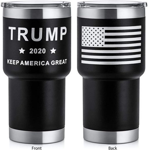 HEATO Trump Keep America Great 2020, Double Wall Stainless Steel Insulated Travel Mug Coffee Cup with Lid (Black, 20 oz)