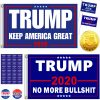 Goaus 2 PCS President Donald Trump 2020 Flags 3X5 Feet with Grommets and 2 PCS Hand Held Flags and 2 PCS Campaign Buttons plus 32 PCS Stickers and 1 PC Gold Coin,Keep America Great,No More Bullsh*t