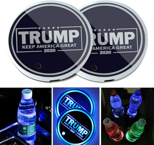 2PCS Universal LED Car Cup Holder Lights, Drinks Coaster Accessories Interior with 7 Colors Changing USB Charging Mat Luminescent Cup Pad, Auto Decoration Atmosphere Lights (Trump Keep America Great)