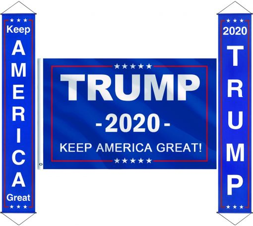Keep America Great Garland Donald Trump for President 2020 Flag Keep America Great Flag with Brass Grommets Keep America Great Porch Sign Banner Hanging Decoration for Indoor/Outdoor Party Decorations