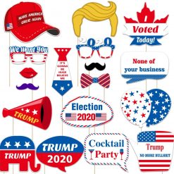 Amosfun 2020 Trump Photo Booth Props USA President Election Party Props USA Trump Propaganda Voting Slogan for 2020 Election Party Supplies,18 Pack
