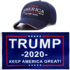 DFLIVE Donald Trump President 2020 Keep America Great Flag 3x5 FT and Navy Blue Keep America Great Hat USA Adjustable Baseball Cap