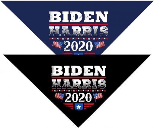 Pohshido 2 Pack Trump 2020/ Biden 2020 Dog Bandana for Small Medium Large Dogs Cats Pets Puppies
