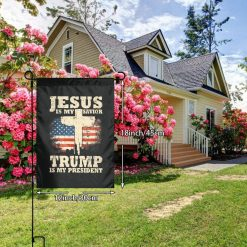 MSGHKJ Jesus is My Savior Trump is My President Garden Flags 12x18 Double Sided Decorative Flag for Outdoor Decoration Election Flag