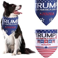 ADOGGYGO Trump 2020 American Flag Dog Bandana 4th of July Dog Bandana for Small Medium Large Dogs Cats Pets 2 Pack (Trump 2020 Keep America Great)