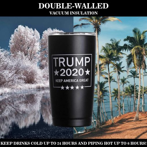 XccMe Trump 2020 Keep America Great Mug Stainless Steel Travel Mug with American Flag Double Wall Tumbler Coffee Cup for Home Office Outdoor Works Great for Ice Drinks and Hot Beverage(20 oz)