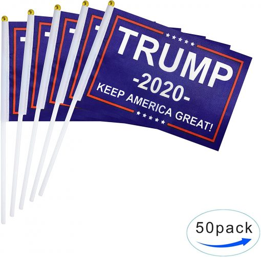 TSMD 50 Pack Donald Trump Flag for President 2020 Keep America Great Flag Small Mini Hand Held Stick Flags Banner Make America Great for Party Decorations,Parades,Election Day Celebration Event