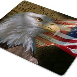 Smooffly Bald Eagle on American Flag Mouse Pad,Gaming Mouse Pad Custom, Vintage USA Flag American Patriotic Eagle Quotes