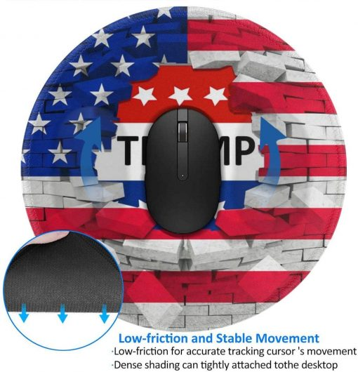 American USA Trump Flag Mouse Pad, Non-Slip Rubber Base Round Mouse Mat with Stitched Edge, Customized Mousepad for Computer Laptop 7.9 x 7.9 x 0.1 Inch