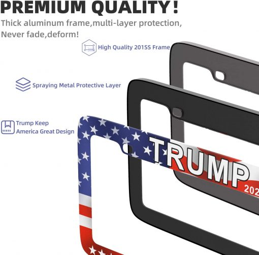 SHARE&CARE Chrome Chameleon/Trump 2020 USA Flag Design License Plate Frame Dazzle Color Car License Plate Cover Holders for US Vehicles with Screw Set - 2 Pack (Trump)
